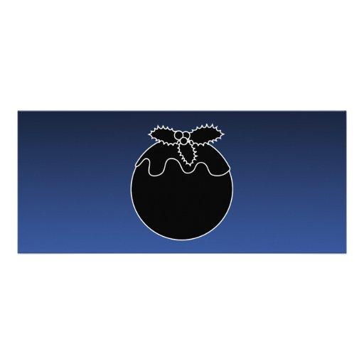Black and White Christmas Pudding. On Blue. Custom Invites