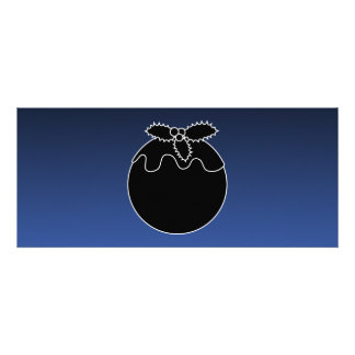 Black and White Christmas Pudding On Blue Custom Invites