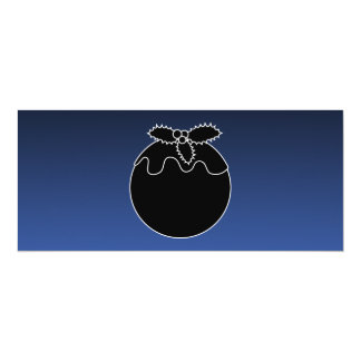 Black and White Christmas Pudding. On Blue. 10 Cm X 24 Cm Invitation Card