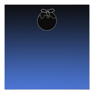 Black and White Christmas Pudding. On Blue. 5.25x5.25 Square Paper Invitation Card