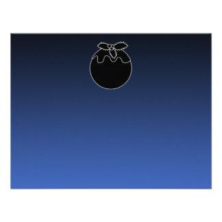 Black and White Christmas Pudding On Blue Custom Invite