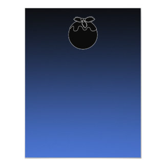 Black and White Christmas Pudding. On Blue. 11 Cm X 14 Cm Invitation Card