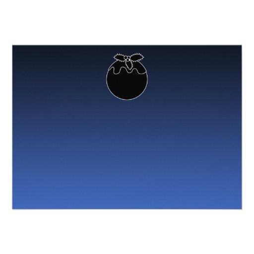 Black and White Christmas Pudding. On Blue. Custom Invitation