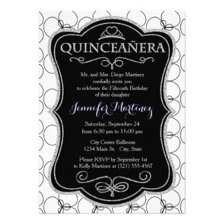 Black and White Circles Rings Invites