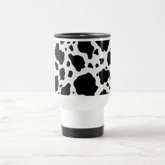 Black and White Cow Animal Pattern Print Stainless Steel Travel Mug