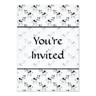 Black and White Cow Pattern. 13 Cm X 18 Cm Invitation Card