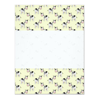 Black and White Cow Pattern on Light Yellow 11 Cm X 14 Cm Invitation Card