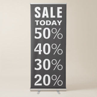 Black and White Custom Retail Sale Announcement Retractable Banner