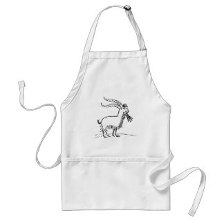 Black and White Cute Smiling Goat Cartoon Standard Apron