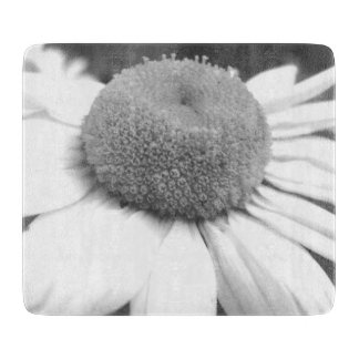 black and white daisy cutting board