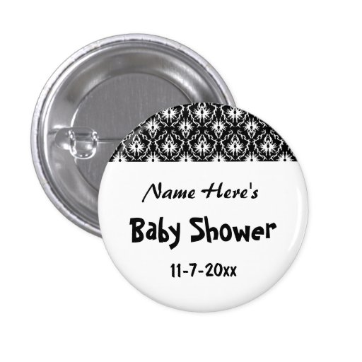 Black and White Damask Baby Shower Pinback Buttons