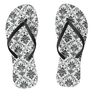 Black and White Damask Jandals