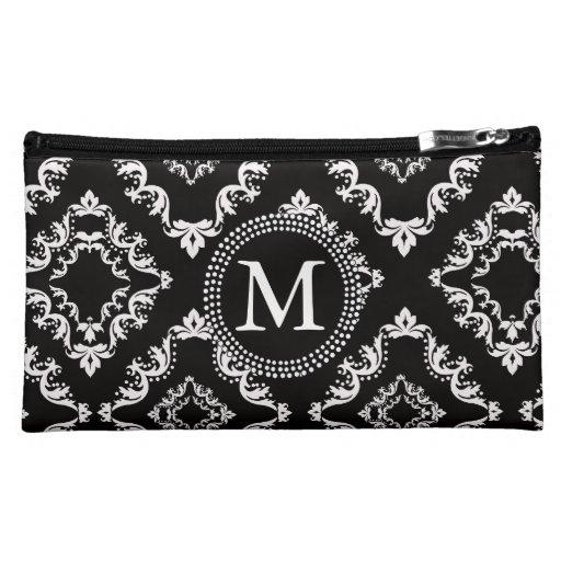 Black and White Damask Monogram Makeup Bag