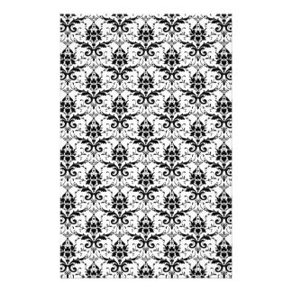 Black and White Damask Patter Scrapbook Paper Stationery Design