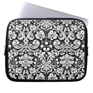 Black and white damask pattern computer sleeves