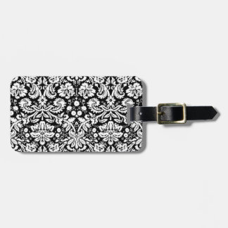 Black and white damask pattern tags for luggage
