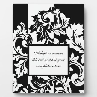 Black and White Damask Plaque