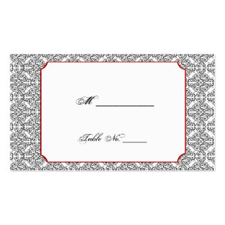 Black and White Damask Red Wedding Place Cards Business Card