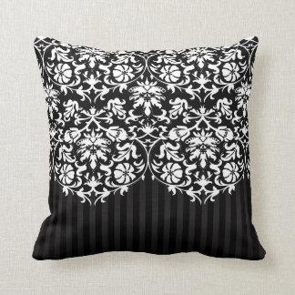 Black and White Damask Stripe Pattern Cushion