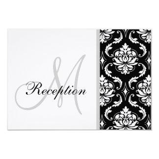 Black and White Damask Wedding Reception Card 9 Cm X 13 Cm Invitation Card