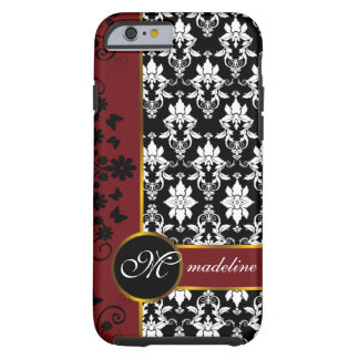 Black and white damask with red floral border tough iPhone 6 case