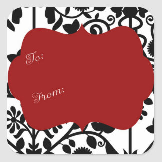 Black and white damask with red gift label square sticker