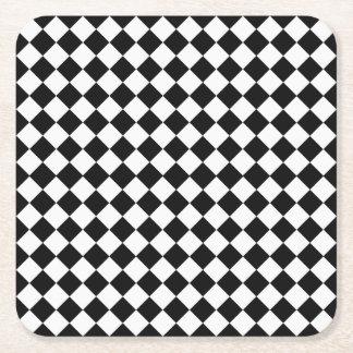 Black And White Diamond Pattern Square Paper Coaster