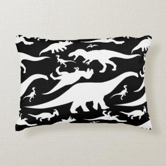 Black and White Dinosaur Pattern Decorative Cushion