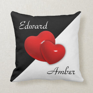 Black and White Double Heart Cushions