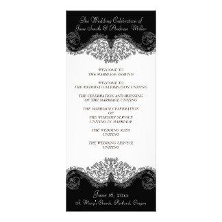 Black and white elegant damask Wedding Programs Rack Card