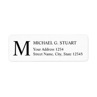 Black and White Elegant Monogram Return Address Label