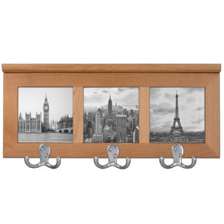 Black and White famous cities scenery coatrack