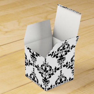 Black and White Fancy Floral Damask Pattern Favour Box