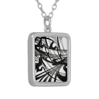 Black and White Fern Glen Silver Plated Necklace