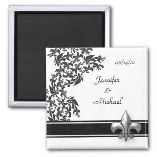 Black and White Fleur de Lis Damask Wedding Magnet