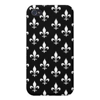 Black and White Fleur de Lis Pattern iPhone 4 Cases