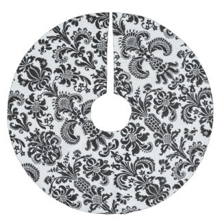 Black and White Floral Damask Christmas Tree Skirt