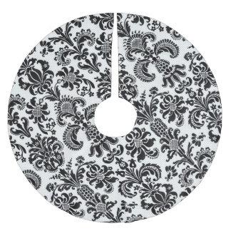 Black and White Floral Damask Christmas Tree Skirt Brushed Polyester Tree Skirt