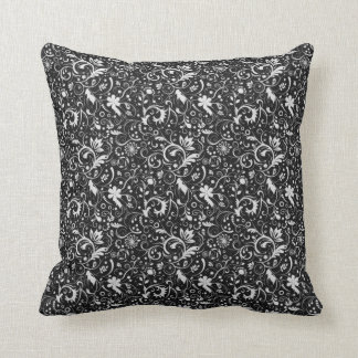 Black and White Floral Damask Pattern Cushion