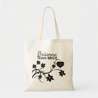 Black and White Floral Team Bride Personalized Tote Bag