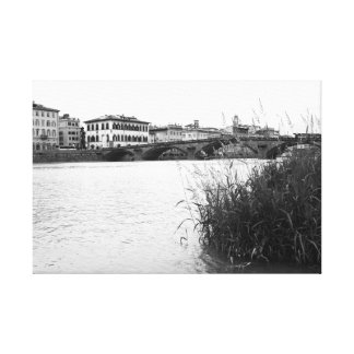 Black and White Florence River Arno Canvas Print