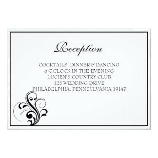 Black and White Flourish Wedding Reception Card