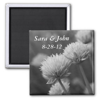 Black And White Flowers Wedding Magnet