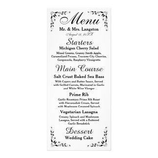 Black and White Formal Reception Menu Customized Rack Card