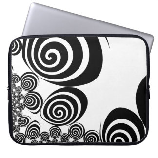 Black and White Fractal Swirl laptop sleeve. Laptop Sleeve