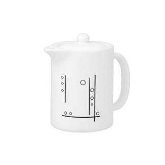 Black and White Geometric Abstract Teapot