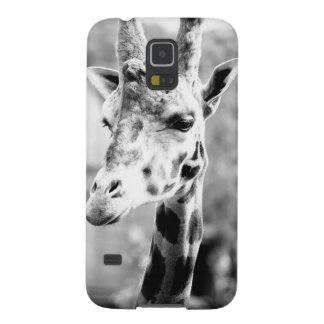 Black and White Giraffe Portrait Photography Galaxy S5 Covers