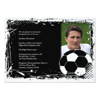 Black and White Grunge Soccer Graduation 13 Cm X 18 Cm Invitation Card