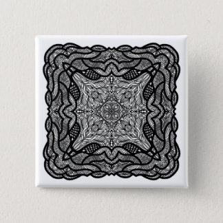 Black and white handpainted doodles 15 cm square badge