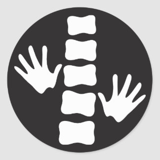Black and White Hands and Spine Logo Chiropractic Round Sticker